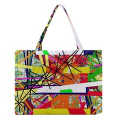 Colorful Abstraction By Moma Medium Zipper Tote Bag by Valentinaart
