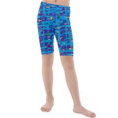 Blue Decorative Art Kids  Mid Length Swim Shorts by Valentinaart