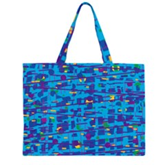 Blue Decorative Art Zipper Large Tote Bag by Valentinaart