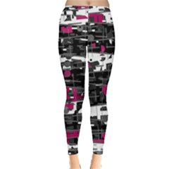 Magenta, White And Gray Decor Leggings  by Valentinaart