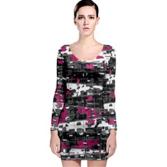 Magenta, White And Gray Decor Long Sleeve Bodycon Dress by Valentinaart