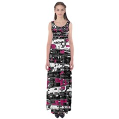 Magenta, White And Gray Decor Empire Waist Maxi Dress by Valentinaart