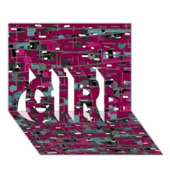 Magenta Decorative Design Girl 3d Greeting Card (7x5) by Valentinaart