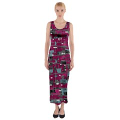 Magenta Decorative Design Fitted Maxi Dress by Valentinaart