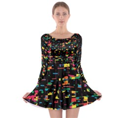 Playful Colorful Design Long Sleeve Skater Dress by Valentinaart