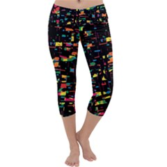 Playful Colorful Design Capri Yoga Leggings by Valentinaart