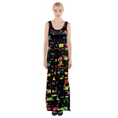 Playful Colorful Design Maxi Thigh Split Dress by Valentinaart