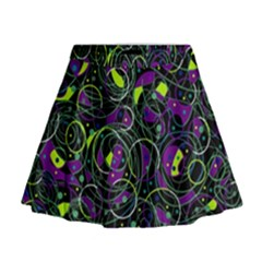 Purple And Yellow Decor Mini Flare Skirt by Valentinaart