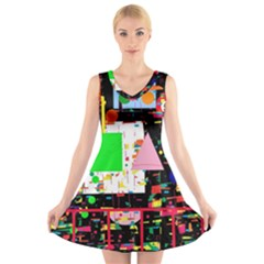 Colorful Facroty V Neck Sleeveless Skater Dress by Valentinaart