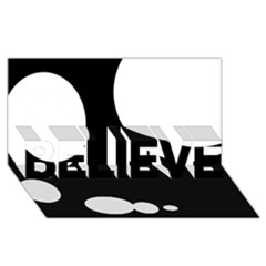 Black And White Moonlight Believe 3d Greeting Card (8x4) by Valentinaart