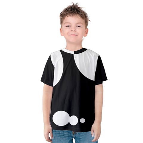 Black And White Moonlight Kids  Cotton Tee by Valentinaart