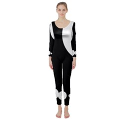 Black And White Moonlight Long Sleeve Catsuit by Valentinaart