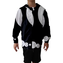 Black And White Moonlight Hooded Wind Breaker (kids) by Valentinaart