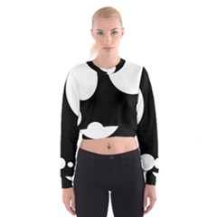 Black And White Moonlight Women s Cropped Sweatshirt by Valentinaart