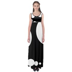 Black And White Moonlight Empire Waist Maxi Dress by Valentinaart
