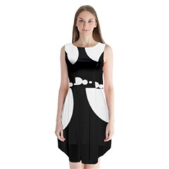 Black And White Moonlight Sleeveless Chiffon Dress   by Valentinaart