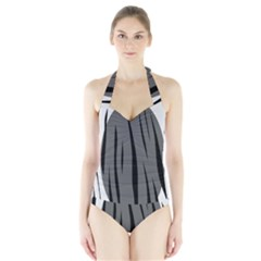 Gray, Black And White Design Halter Swimsuit by Valentinaart