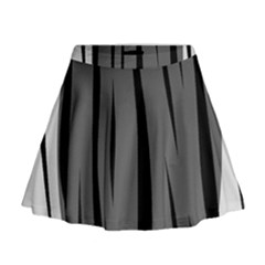 Gray, Black And White Design Mini Flare Skirt