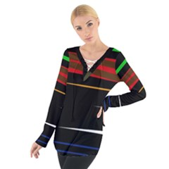 Colorful Lines  Women s Tie Up Tee by Valentinaart
