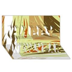Brown Decorative Design Happy New Year 3d Greeting Card (8x4)