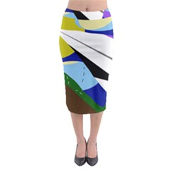 Paper Airplane Midi Pencil Skirt by Valentinaart