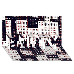 Abstract City Landscape Party 3d Greeting Card (8x4)