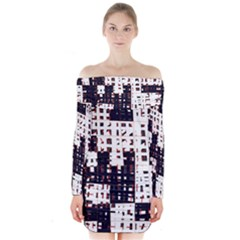 Abstract City Landscape Long Sleeve Off Shoulder Dress