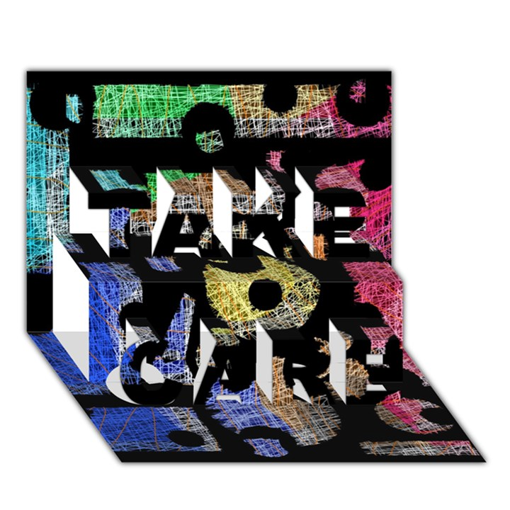 Colorful puzzle TAKE CARE 3D Greeting Card (7x5)