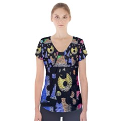 Colorful Puzzle Short Sleeve Front Detail Top by Valentinaart