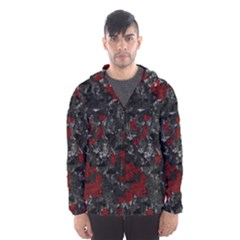 Gray And Red Decorative Art Hooded Wind Breaker (men) by Valentinaart