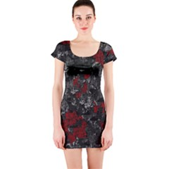 Gray And Red Decorative Art Short Sleeve Bodycon Dress by Valentinaart