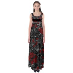 Gray And Red Decorative Art Empire Waist Maxi Dress by Valentinaart