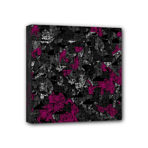 Magenta And Gray Decorative Art Mini Canvas 4  X 4  by Valentinaart