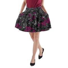 Magenta And Gray Decorative Art A Line Pocket Skirt by Valentinaart