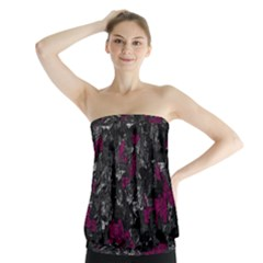 Magenta And Gray Decorative Art Strapless Top by Valentinaart