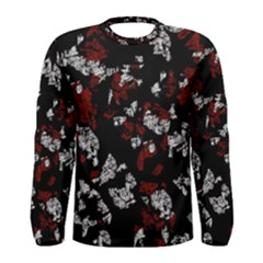 Red, White And Black Abstract Art Men s Long Sleeve Tee by Valentinaart