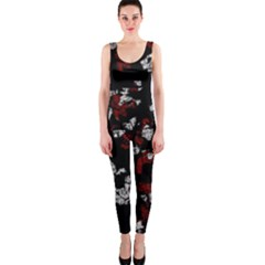 Red, White And Black Abstract Art Onepiece Catsuit