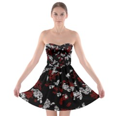 Red, White And Black Abstract Art Strapless Bra Top Dress