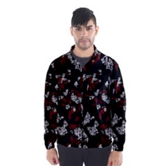 Red, White And Black Abstract Art Wind Breaker (men) by Valentinaart
