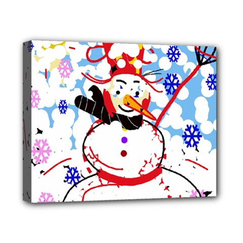 Snowman Canvas 10  X 8  by Valentinaart