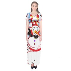 Snowman Short Sleeve Maxi Dress by Valentinaart