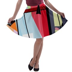 Window A Line Skater Skirt by Valentinaart
