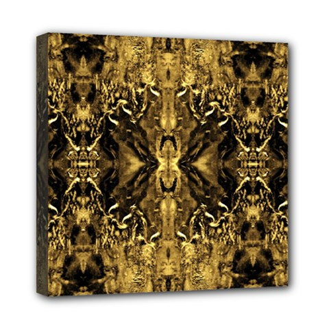 Beautiful Gold Brown Traditional Pattern Mini Canvas 8  X 8  by Costasonlineshop