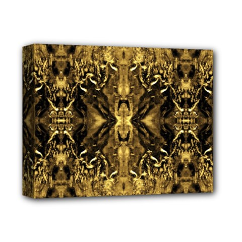 Beautiful Gold Brown Traditional Pattern Deluxe Canvas 14  X 11  by Costasonlineshop