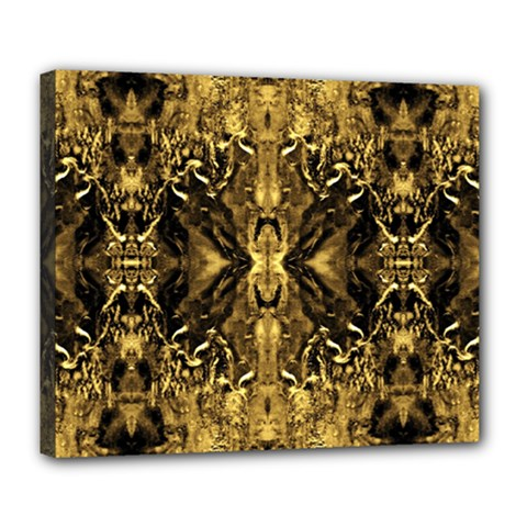 Beautiful Gold Brown Traditional Pattern Deluxe Canvas 24  X 20   by Costasonlineshop