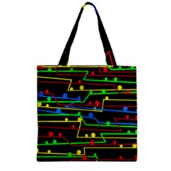Stay In Line Zipper Grocery Tote Bag by Valentinaart