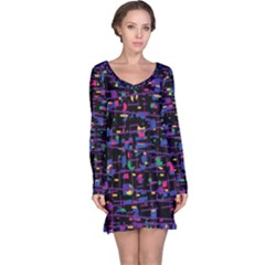 Purple Galaxy Long Sleeve Nightdress by Valentinaart