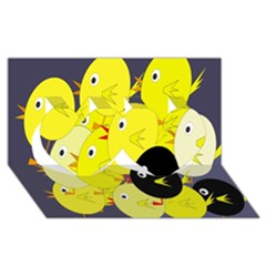 Yellow Flock Twin Hearts 3d Greeting Card (8x4) by Valentinaart