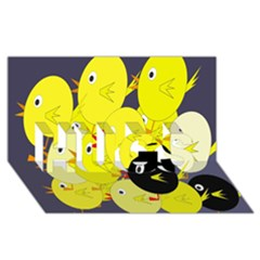 Yellow Flock Hugs 3d Greeting Card (8x4) by Valentinaart