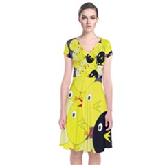 Yellow Flock Short Sleeve Front Wrap Dress by Valentinaart